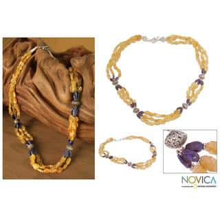 Handmade Sterling Silver 'Sunny Sky' Citrine and Lapis Long Necklace (India)|https://ak1.ostkcdn.com/images/products/6037292/P13717022.jpg?impolicy=medium