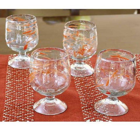 Handmade Set of 4 Blown Glass 'Sunset Wind' Goblets (Guatemala)