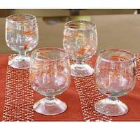 Set of 4 Blown Glass 'Sunset Wind' Goblets (Guatemala)