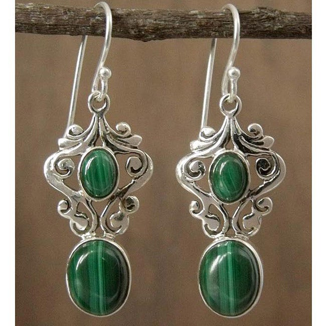 Sterling Silver 'Natural Majesty' Malachite Earrings (India)