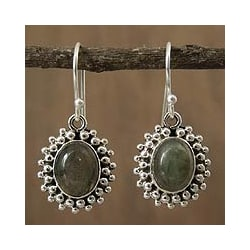 Handcrafted Sterling Silver 'Forest Mist' Labradorite Earrings (India)