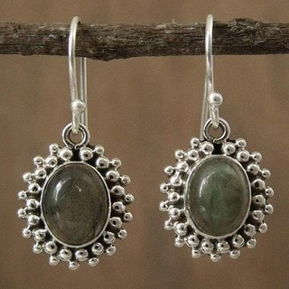 Handmade Sterling Silver 'Forest Mist' Labradorite Earrings (India)