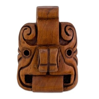 Handmade Cedar Wood 'Jaguar Mystery' Mask (El Salvador) - Brown