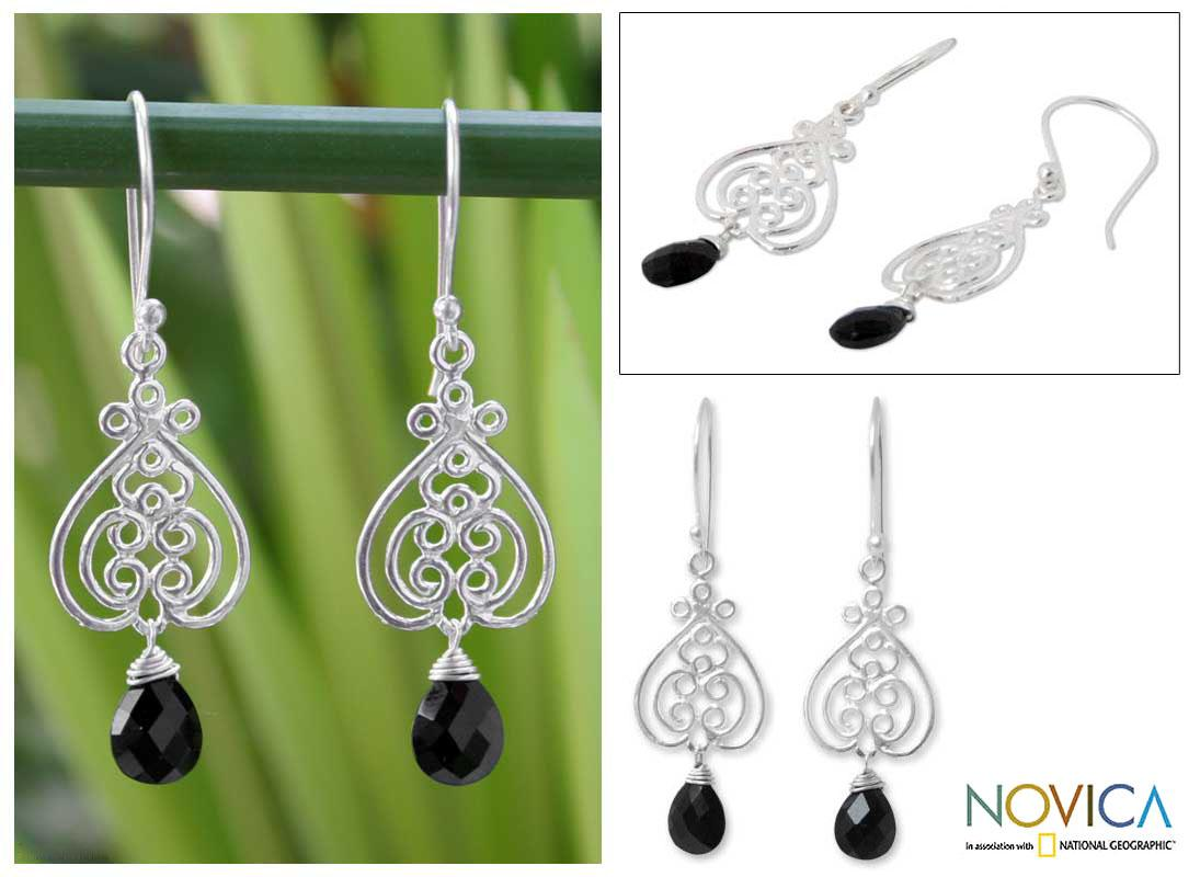 Handmade Sterling Silver 'Celebrate Love' Onyx Earrings (Thailand)
