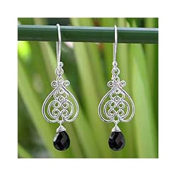 Handcrafted Sterling Silver 'Celebrate Love' Onyx Earrings (Thailand)