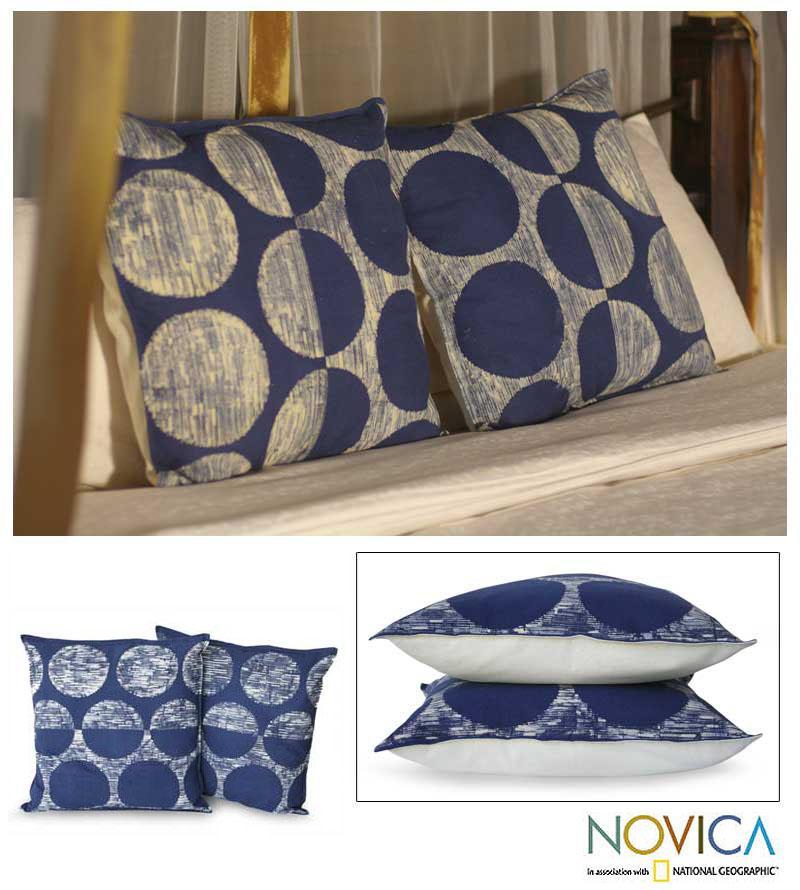 Set of Two Cotton 'Exotic Indigo' Cushion Covers (Thailand)