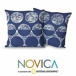 Set of Two Cotton 'Exotic Indigo' Cushion Covers (Thailand) - Thumbnail 1