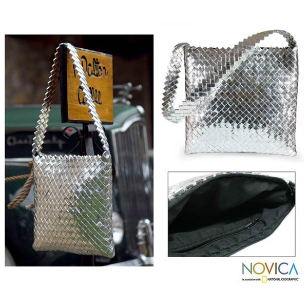 Recycled Metalized Wrapper 'Moonlight' Medium Shoulder Bag (Guatemala)