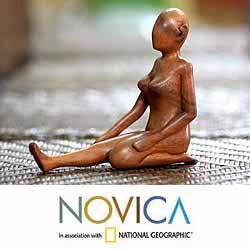 Handmade Suar Wood 'Anticipation' Sculpture (Indonesia)