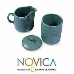 Ceramic 'Spanish Moss' Sugar Bowl and Creamer (El Salvador) - Thumbnail 1