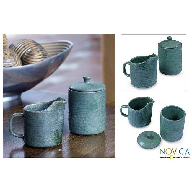 Ceramic 'Spanish Moss' Sugar Bowl and Creamer (El Salvador)