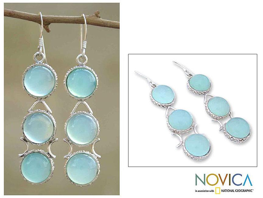 Handmade Sterling Silver 'Blue Dew' Blue Chalcedony Drop Earrings (India) - Thumbnail 0
