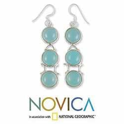 Handmade Sterling Silver 'Blue Dew' Blue Chalcedony Drop Earrings (India) - Thumbnail 1