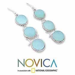 Handmade Sterling Silver 'Blue Dew' Blue Chalcedony Drop Earrings (India) - Thumbnail 2