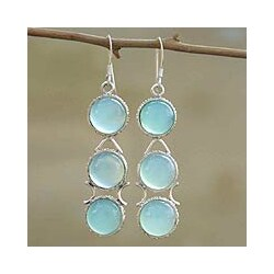 Sterling Silver 'Blue Dew' Blue Chalcedony Drop Earrings (India)