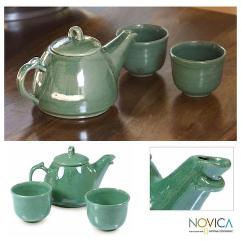 Handmade Ceramic 'Maya Jade' 3-piece Tea Set (El Salvador)