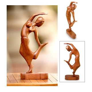 Handmade Suar Wood 'Spirit Dancer' Sculpture (Indonesia)