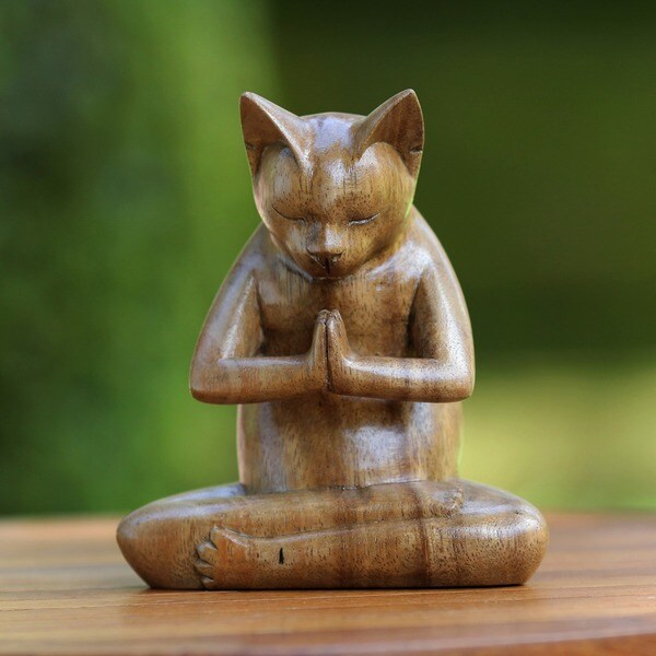 Kitty Cat Prayer Handmade Kitten Christian Prayer Zen Buddhist Brown Feline Home Decor Desk Gift Wood Statuette (Indonesia)