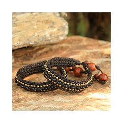 Handmade Set of 2 Onyx 'Tribal Chic' Wristband Bracelets (Thailand)