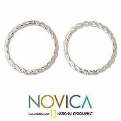 Handmade Set of 2 Sterling Silver 'Shining Braid' Stacking Rings (Thailand)