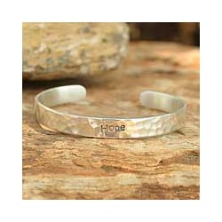 Handmade Sterling Silver 'Hope' Cuff Bracelet (Thailand)
