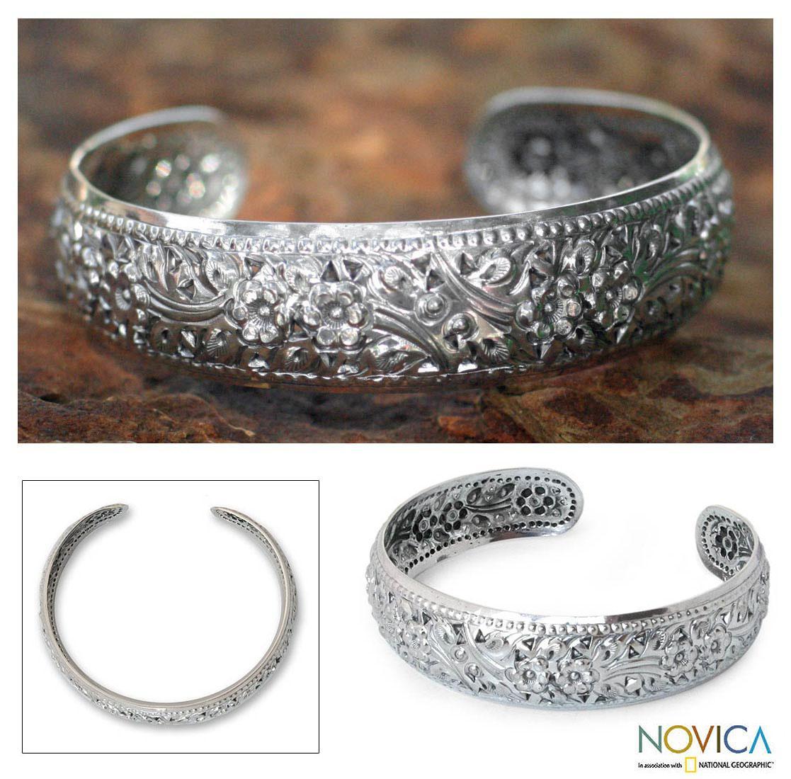 Sterling Silver 'Precious Garland' Cuff Bracelet (Thailand)