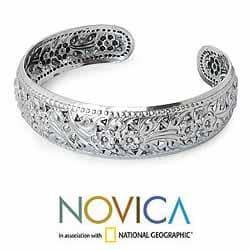 Sterling Silver 'Precious Garland' Cuff Bracelet (Thailand) - Thumbnail 1