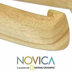 Handmade Prima Vera Wood 'Inspiration' Tongs (Guatemala) - Thumbnail 1