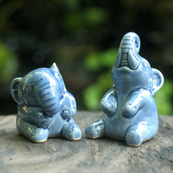 Handmade Happy Elephants in Blue Celadon Handmade Artisan Animal Figurine (Set of 2) (Thailand)