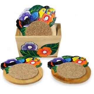 Set of 6 Handmade Pinewood 'Toucan' Coasters (El Salvador)