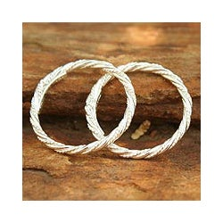 Set of 2 Sterling Silver 'Spiral Touch' Stacking Rings (Thailand)
