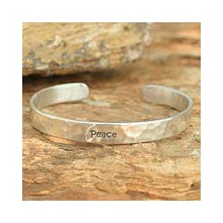 Handmade Sterling Silver 'Peace' Cuff Bracelet (Thailand)