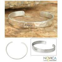 Handmade Sterling Silver 'Peace' Cuff Bracelet (Thailand)