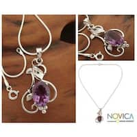 Sterling Silver 'Summer Glory' Amethyst Necklace (India)