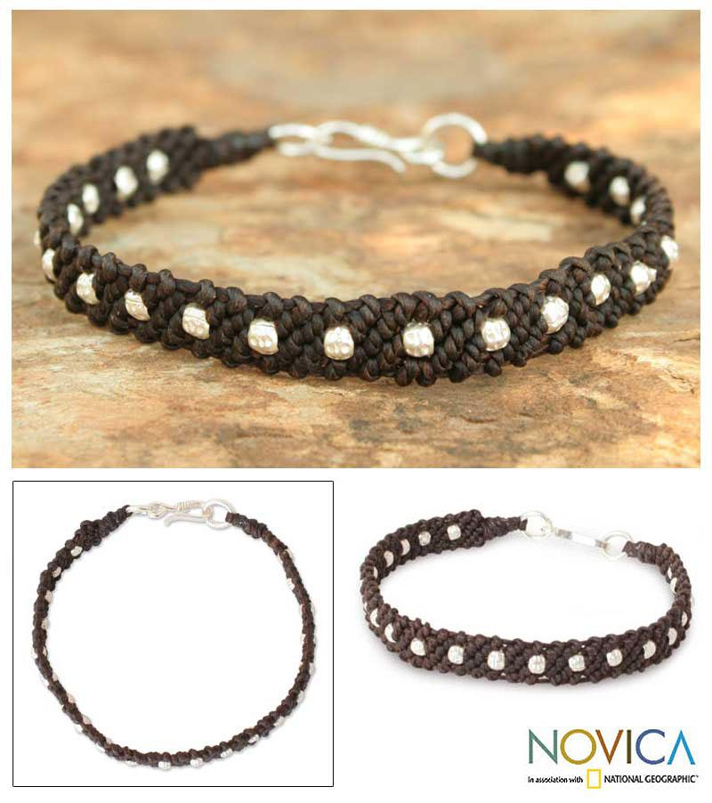 Handcrafted Silver 'Hill Tribe Harmony in Brown' Bracelet (Thailand)