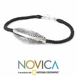 Handcrafted Silver 'Tribal Leaf' Braided Bracelet (Thailand)