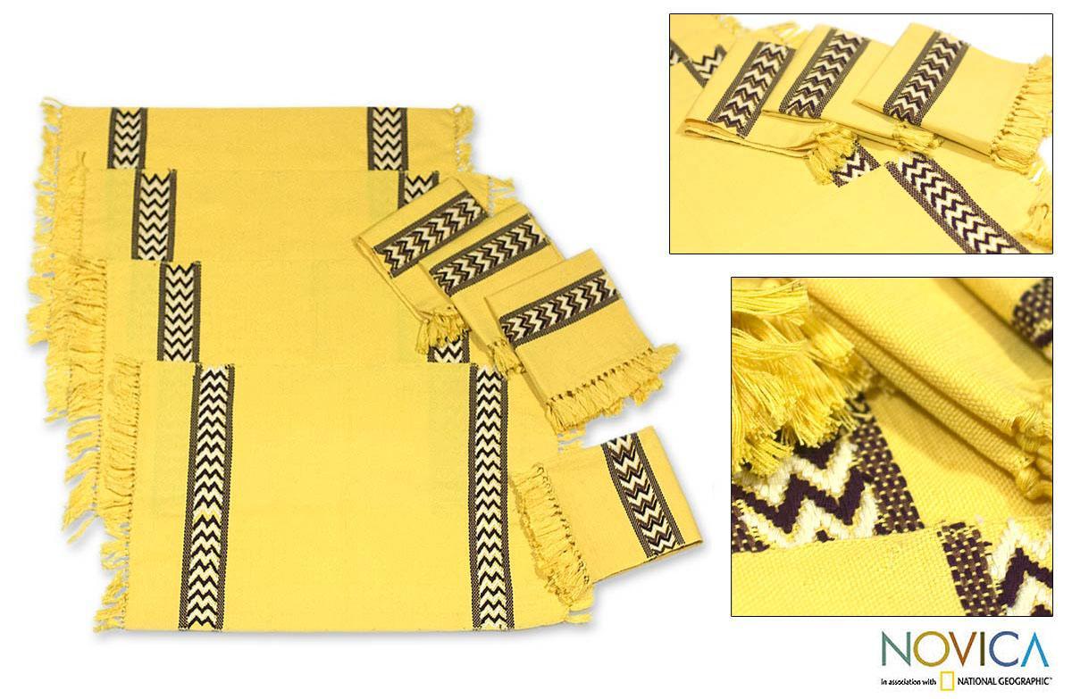 Handmade Cotton 'Maya Sun' 8-piece Placemats and Napkins Set (Guatemala)