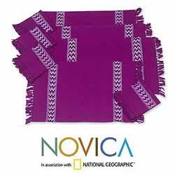 Handmade Cotton 'Jungle Orchid' 8-piece Placemats and Napkins Set (Guatemala)