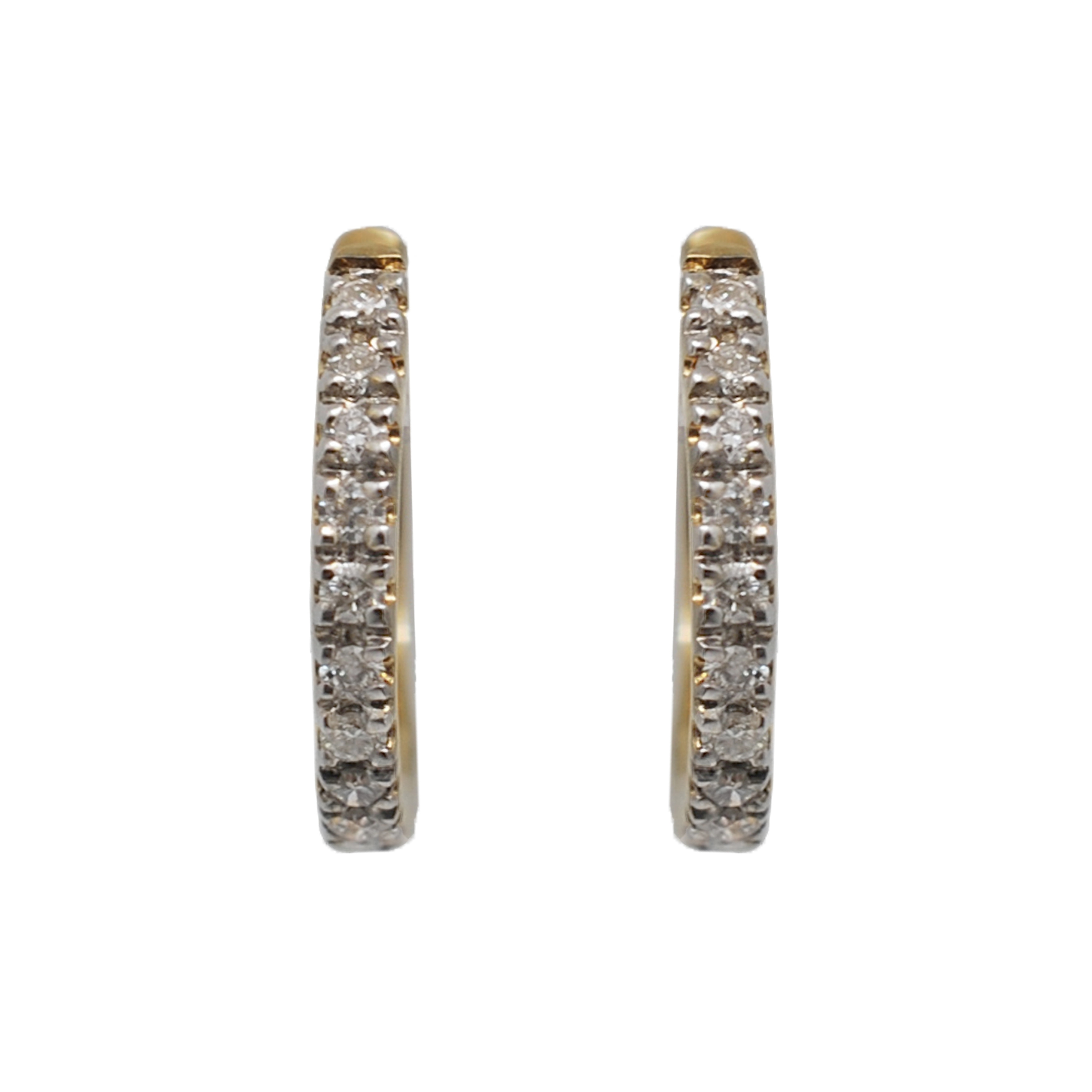 Kabella 14k Gold 1 6ctw Tiny 12mm Diamond Small Hoop Earrings White H I