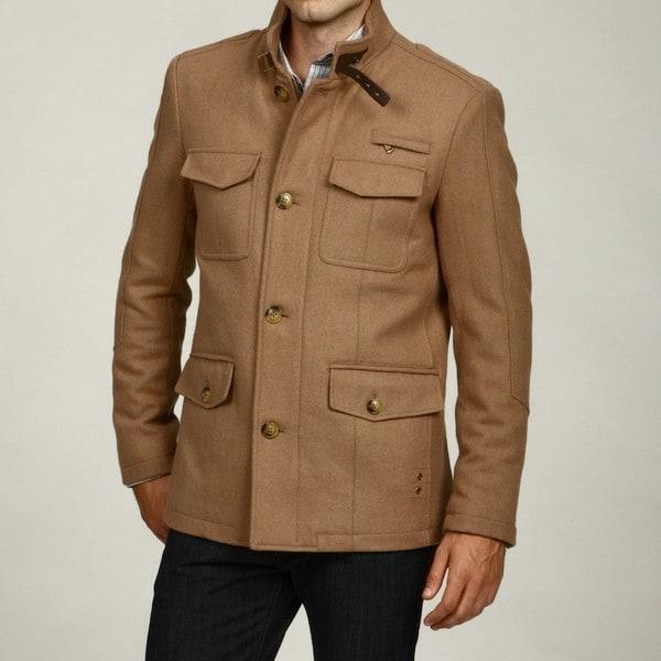 Kenneth Cole Men's Melton Wool Blend Military Coat
