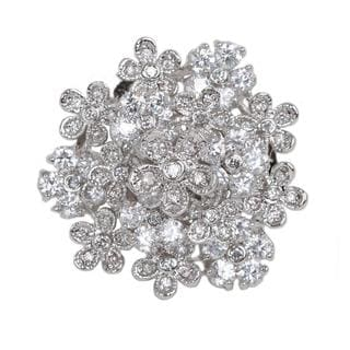 NEXTE Jewelry Silvertone Cubic Zirconia Flower Ring