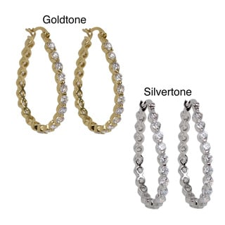NEXTE Jewelry Silvertone or Goldtone Cubic Zirconia High-Polish Hoop Earrings