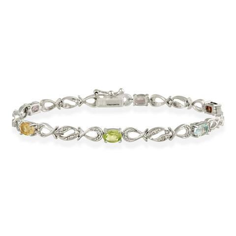 Glitzy Rocks Sterling Silver Multi-gemstone and Diamond Infinity Bracelet