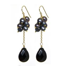 Adee Waiss Freshwater Pearl and Black Agate Earrings