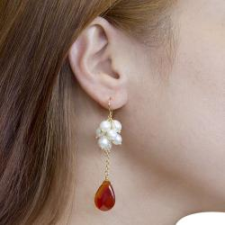 Adee Waiss Freshwater Pearl and Red Agate Earrings - Thumbnail 2