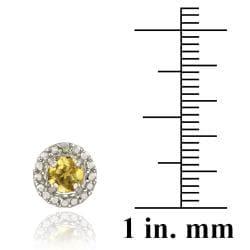 Glitzy Rocks Sterling Silver 6 3/4ct TGW Citrine and Diamond Button Earrings