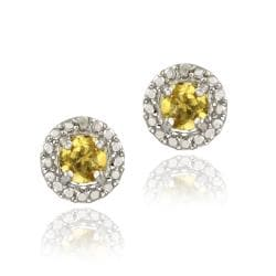 Glitzy Rocks Sterling Silver 6 3/4ct TGW Citrine and Diamond Button Earrings