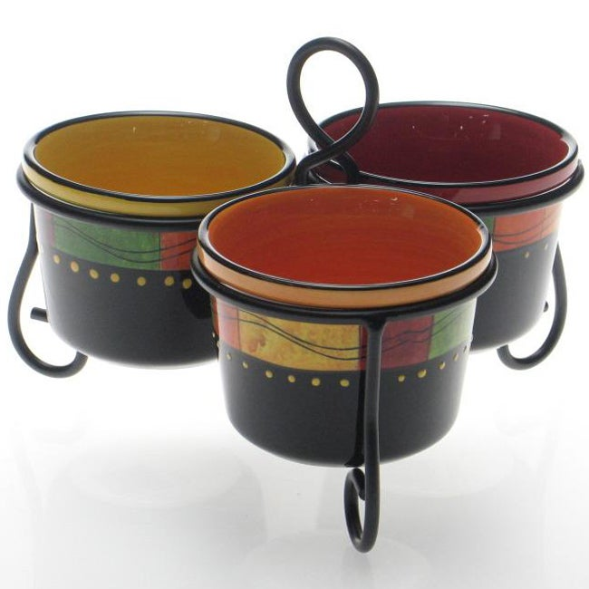 Certified International Caliente 3-section Server with Metal Stand