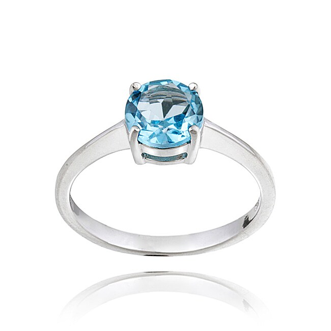 Glitzy Rocks Sterling Silver 1 1/2ct TGW Swiss Blue Topaz Solitaire Ring