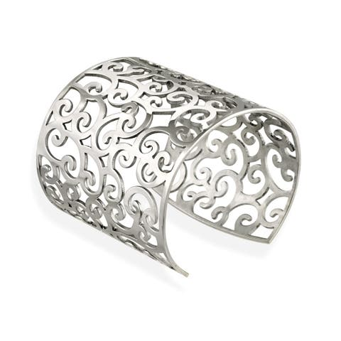 Mondevio Stainless Steel Filigree Design Large Cuff Bangle Bracelet